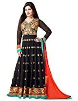 Black with Orange Floor Length Anarkali Salwar Suit