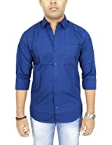 AA' Southbay Men's Blue 100% Cotton Twill Long Sleeve Solid Casual Shirt