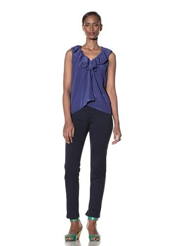 Moschino Cheap and Chic Women's Ruffle Neck Silk Top (Royal Blue)
