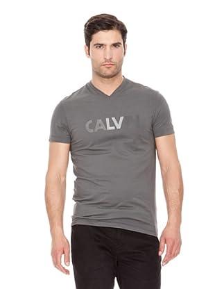 Calvin Klein Jeans Camiseta Logo Cuello V M / C (Gris Oscuro)