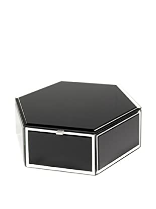 Mia Collection Glass Hexagon Storage Box (Black)