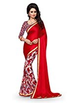 Shree Sanskruti Red Color Georgette Saree For Women
