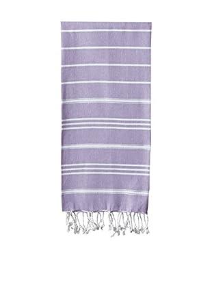 Nine Space Stripe Turkish Fouta Hand Towel, Lavender