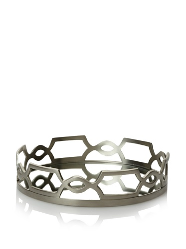 Belle Maison Chain-Design Tray with Mirror Insert, Silver, Small