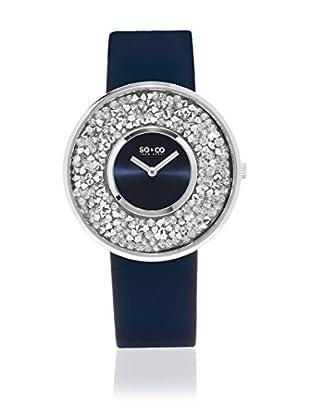 SO&CO New York Uhr mit japanischem Quarzuhrwerk Crystal Studded Filled blau