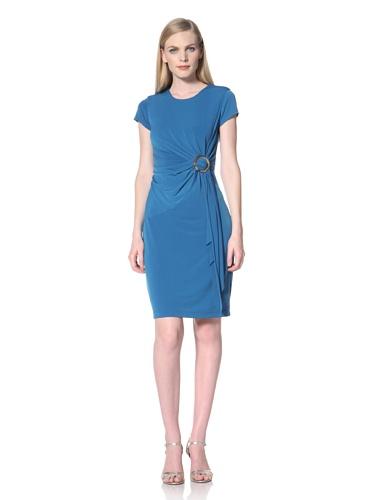 Ellen Tracy Women's Draped Dress with O-Ring (Blue)