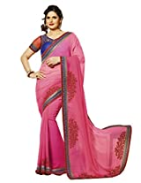 B3Fashion Partywear Georgette saree in Pink with embroidered border