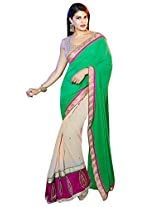 Roop Kashish Georgette Satin Chiffon Saree With Border Saree(10811_Green And White)