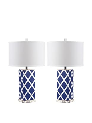 Safavieh Set of 2 Garden Lattice Table Lamps, Navy