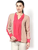 Beige and Pink Top for Women for Office wear