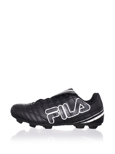 Fila Kid's Soundwave Rubber Blade Soccer Cleat (Toddler/Little Kid/Big Kid) (Black/White/Metallic Silver/Pewter)