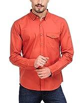 Yepme Men's Solid Orange Cotton Shirt- YPMSHRT0323_40