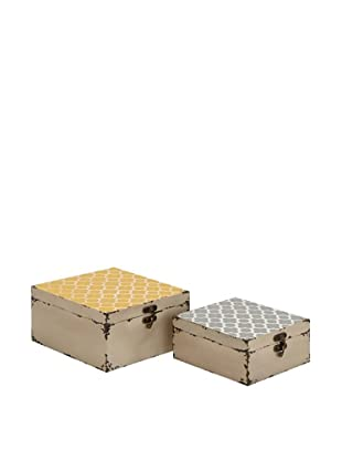 Set of 2 Patterned Wooden Boxes