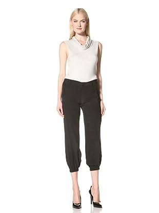 Christian Siriano Women's Cropped Silk Pant (Black)