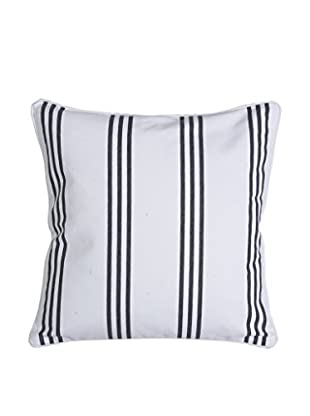 Lene Bjerre Laurie Small White & Dark Cement-Grey Striped Throw Pillow