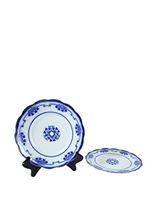 Pair of Flow Blue Lorne Salad Plates, Blue/White