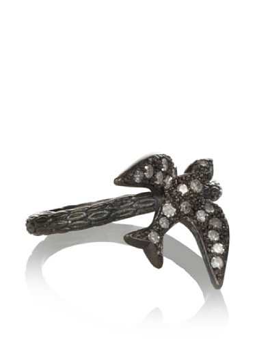 Made Her Think Swallow Ring (Oxidized Silver/Diamonds)