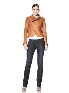 Hare + Hart Women's Schiller Leather Jacket (Terracotta)