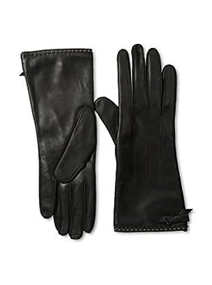 Portolano Women's Contrast Piping Leather Gloves (Black/Black)