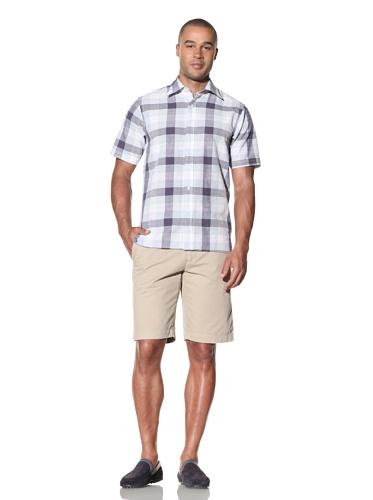 Report Collection Men's Large Scale Plaid Shirt (Blue)