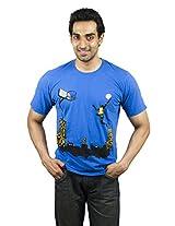 XTeeC Midnight Blue Printed Round Neck T-Shirt - Xlarge