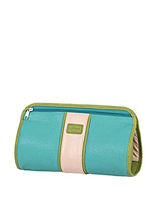 Morelle & Co. Two-Tone Travel Jewelry Clutch, Lime/Aqua