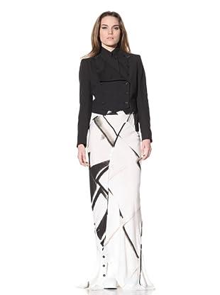 Ann Demeulemeester Women's Long Button Skirt (Black/Off White)