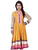 Chhipa Women Hand Printed Yellow Anarkali(1015_Yellow_40)