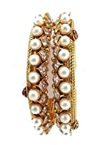 Bangles and bracelets - Traditional maroon green faux pearl gold plated 2pc bangles for women