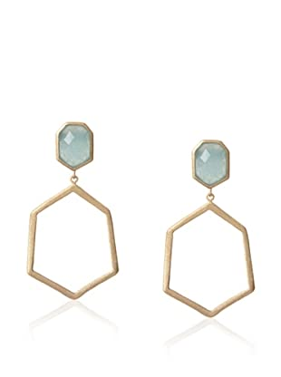 Rivka Friedman Caribbean Blue Quartzite Post-Deco Design Dangle Earrings