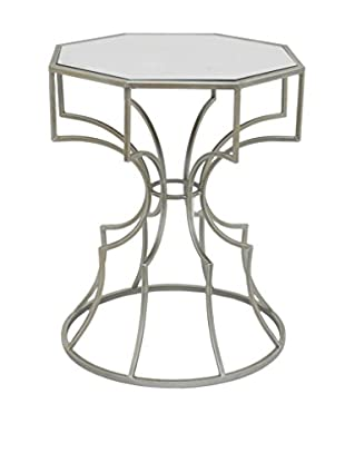 Three Hands Octagonal Mirror Accent Table, Silver