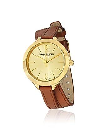 Stührling Original Women's 568.04 Deauville Sport Swiss Quartz Brown Leather Wrap Around Band Gold Tone Watch