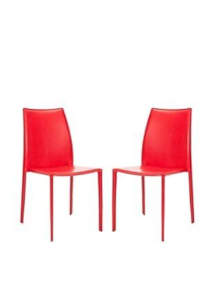 Safavieh Set of 2 Korbin Side Chairs, Red
