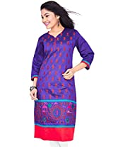 Rucchi By Praveen Women's Cotton-Silk Purple Kurti