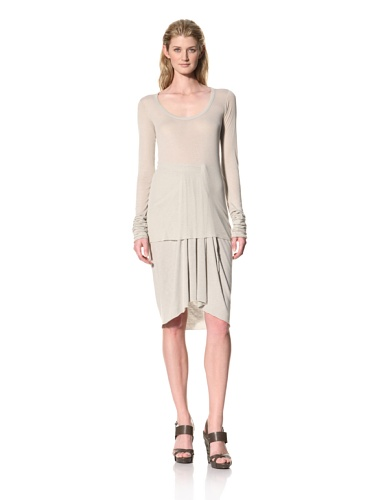 RICK OWENS Women's Long Sleeve Scoopneck Top (Pearl)