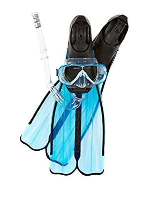 Cressi Set Taucherbrille + Turbo Schnorchel + Schwimmflossen