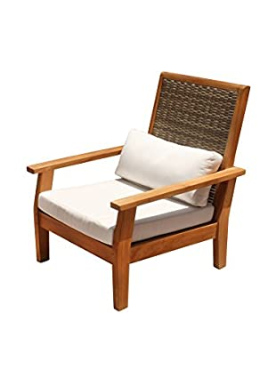 Panama Jack Leeward Islands Natural Teak Lounge Chair with Sunbrella Cushion