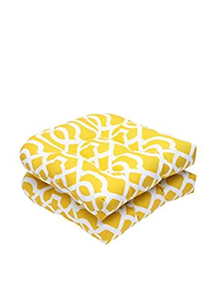 Pillow Perfect Set of 2 Indoor/Outdoor New Geo Wicker Seat Cushions, Yellow