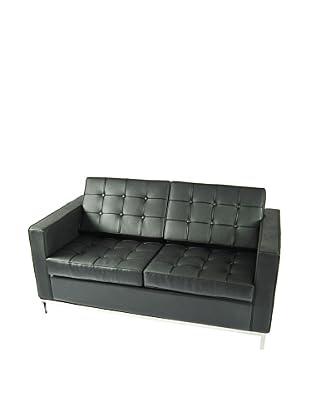 Manhattan Living Button Loveseat in Leather, Black