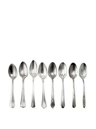 Set of 8 Vintage Silver-Plated Multi- Patterned Teaspoons, c.1940s