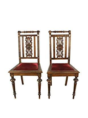 Pair of New Renaissance Style Chairs, Brown/Crimson