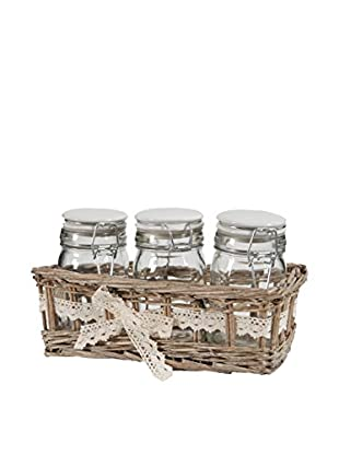 3 Jars In Willow Basket