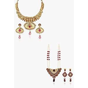 Set Of 1 Rani Haar, 1 Necklace Set Asian Pearls