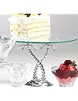 Godinger Palm Tree Cake Stand Glass Top