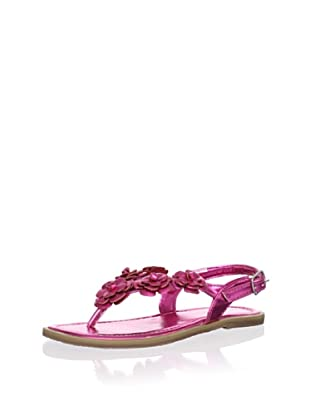 L'Amour Shoes Kid's Metallic Flower Thong Sandal (Fuchsia)