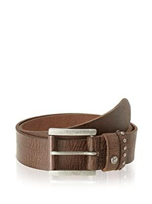 William Rast Men's Leather Belt with Studded Loop (Brown)