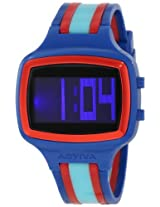 Activa By Invicta Unisex Aa400-012 Black Digital Dial Dark Blue, Turquoise And Red Polyurethane Watch - Aa400-012