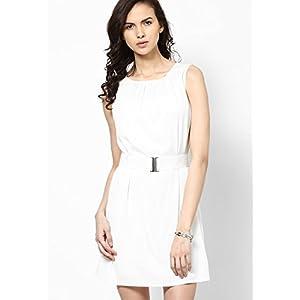 White Solid Shift Dress