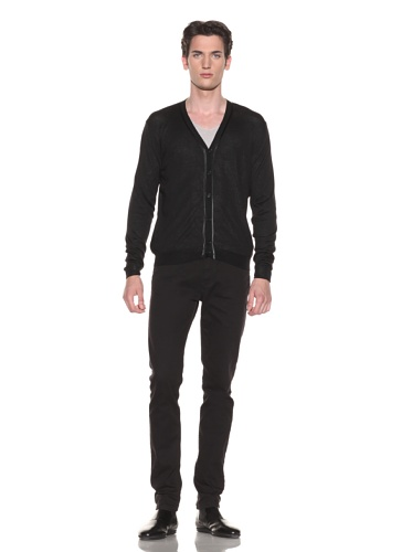 Halston Men's Contrast Trim Cardigan (Black)