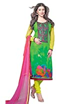 Admyrin Women's Cotton Embroidered Green Salwar Kameez